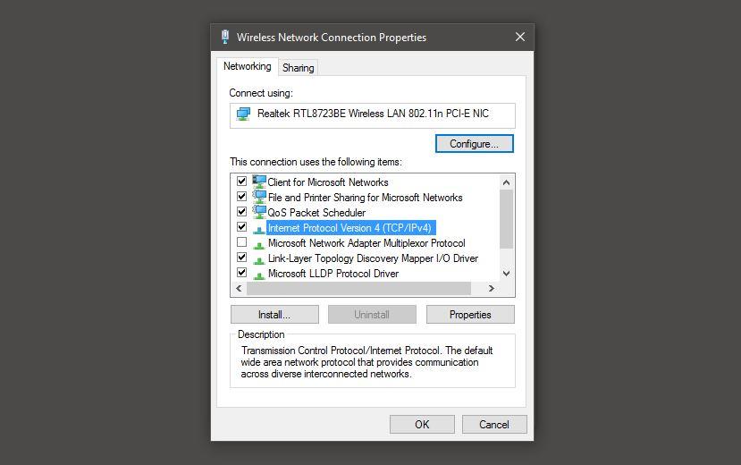 Trạng thái kết nối mạng IPv4
