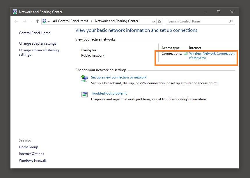 Trung tâm mạng và chia sẻ Windows 10
