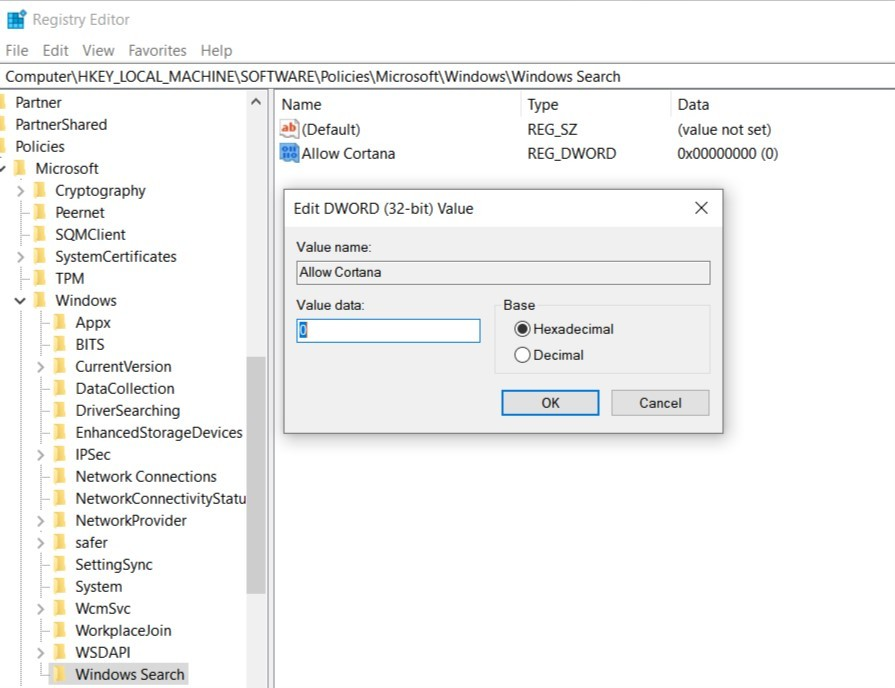 Tắt Cortana bằng đăng ký