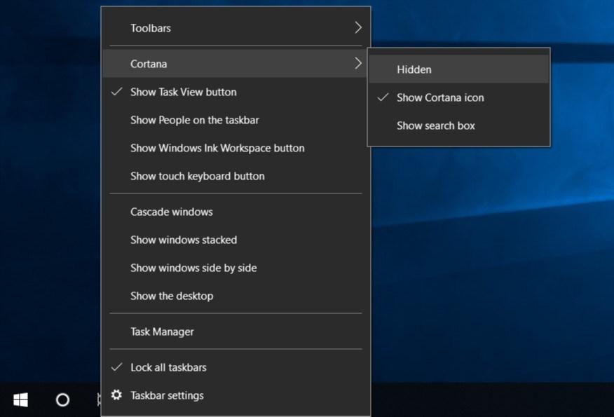 Ẩn Cortana trong Windows 10