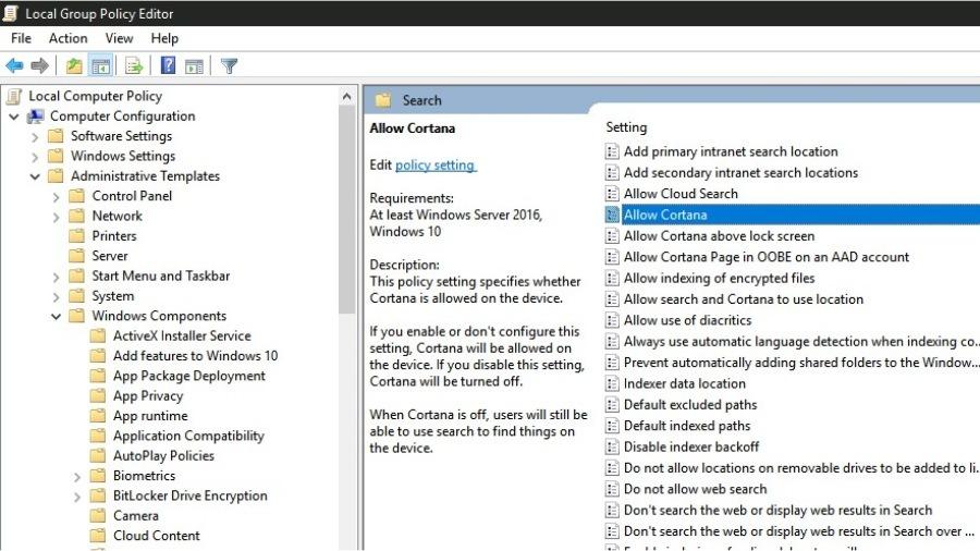 Cho phép Cortana trong Trình chỉnh sửa chính sách nhóm