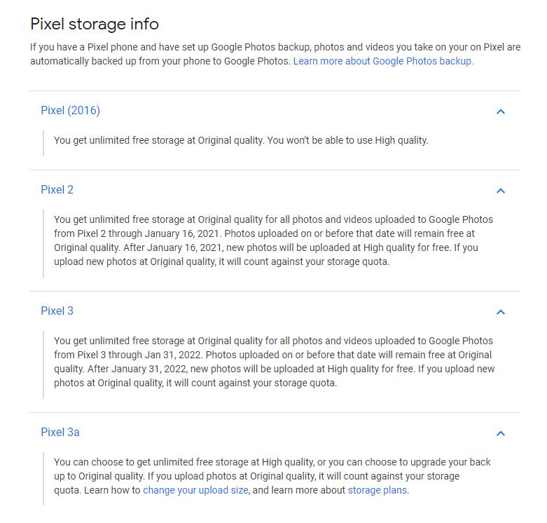 Pixel chi tiết bộ nhớ Google Photos